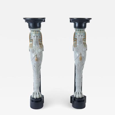 Madeleine Castaing Egyptian Revival Corner Pedestals Style of Madeleine Castaing