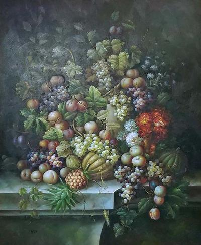 Madeline Picot Monumental Still Life Oil on Canvas of Fruit by M Picot