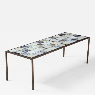 Mado Jolain Mado Jolain Ceramic Tile and Iron Coffee Table France c 1950
