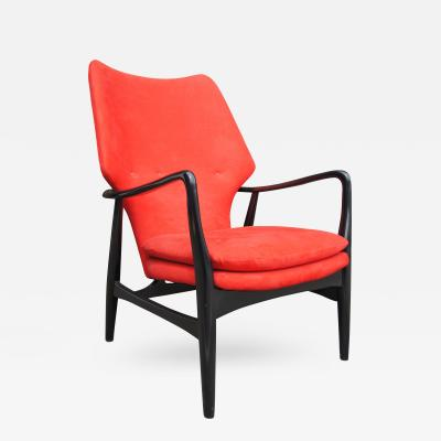 Madsen Sch bel Ebonized Highback Lounge Chair by Ib Madsen and Acton Schubell