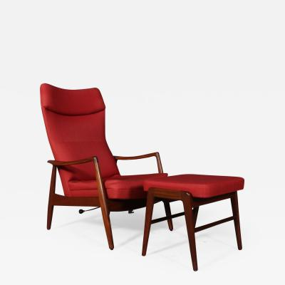 Madsen Sch bel Madsen and Schubell attributed Armchair and teak stool 1960s 2