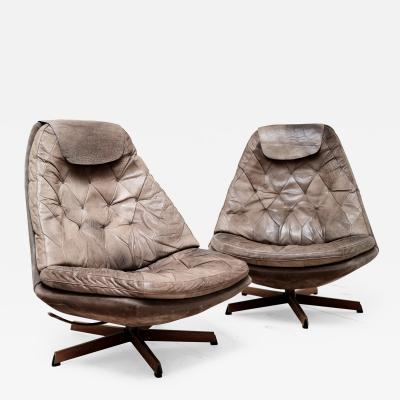 Madsen Sch bel Vintage Pair of Turn Tilt Chairs by Madsen Schubel for Bovenkamp