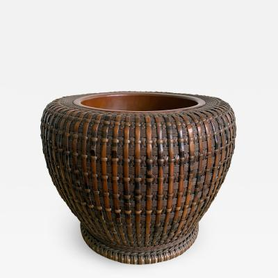 Maeda Chikubosai I Japanese Woven Bamboo Brazier by Maeda Chikubosai I