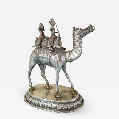 Magnificent Antique Colonial Indian Silver Camel with Riders circa 1880
