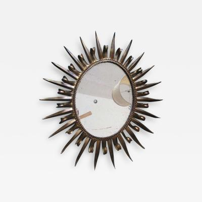 Magnificent Jere Style Eyelash Starburst Gilded Gold Mirror Hollywood Regency