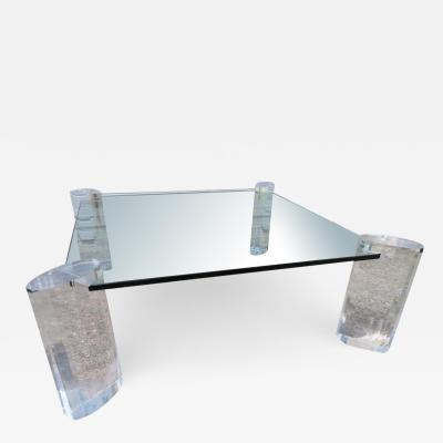Magnificent Karl Springer Style Faceted Lucite Pillar Coffee Table Midcentury