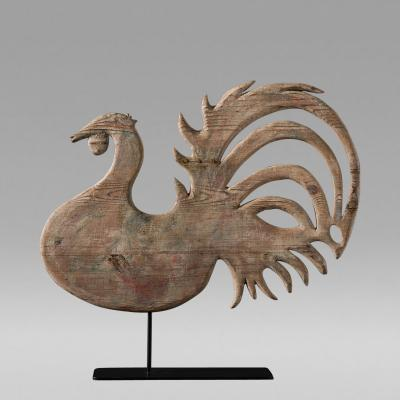 Magnificent Wood Rooster Weathervane c 1880