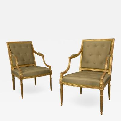 Magnificent and Stylish Pair of George III Giltwood Armchairs