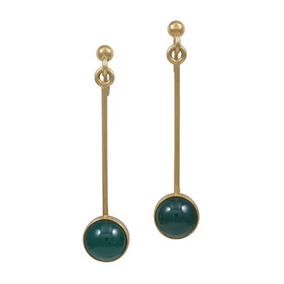 Magnus Stephensen Georg Jensen 18kt Gold Earrings with Green Agate M Stephensen