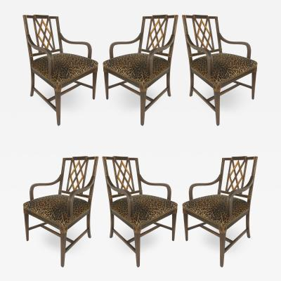 Mahogany Parcel Gilt Set of 6 Dining Chair Slat Backs and Leopard Print Velvet