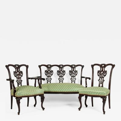 Mahogany Wood Frame Chippendale Style Three Piece Salon Suite