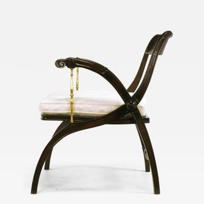 Mahogany and Brass Sculptural Open Back Armchair