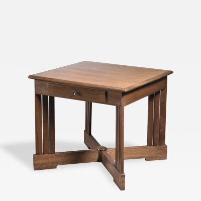 Mahogany and birch center table