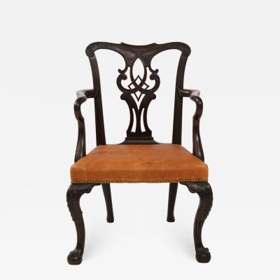 Mahogany open armchair