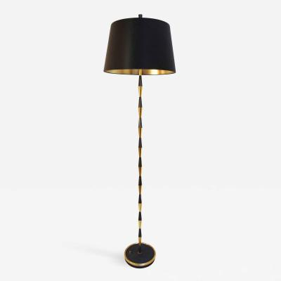 Maison Arlus Black and gilt brass floor lamp by Maison Arlus 1960s