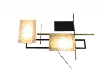 Maison Arlus Maison Arlus Arles wall sconce in glass metal and gilt bronze 1950s