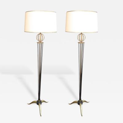 Maison Arlus Maison Arlus Documented Pair of Standing Lamps with Globe and Tripod Legs