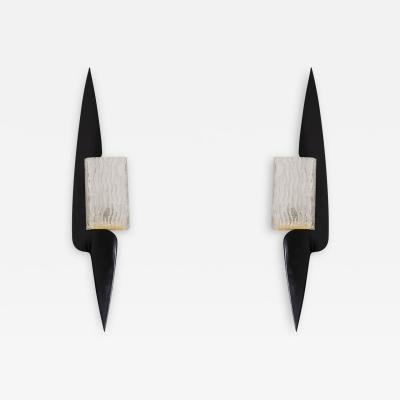 Maison Arlus Maison Arlus Paire of wall sconces in wood and glass 1960 s