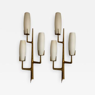 Maison Arlus Pair of Bronze Sconces Opalin Glass by Maison Arlus France 1960s