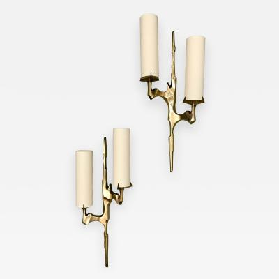 Maison Arlus Pair of Bronze Sconces by Arlus France 1960s