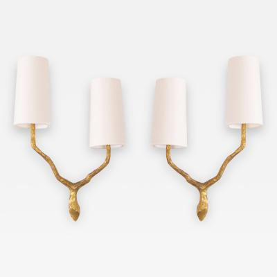Maison Arlus Pair of Bronze Sconces or Wall Lamps from Maison Arlus Felix Agostini style