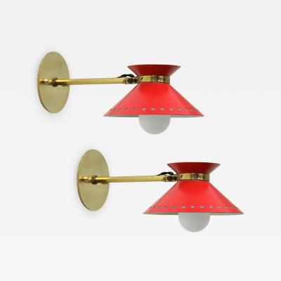 Maison Arlus Pair of Red Arlus Wall Lights