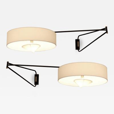 Maison Arlus Pair of large adjustable and foldable wall lights by Arlus France circa 1950
