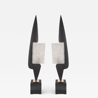 Maison Arlus Rare Pair of Mid Century Enamel Textured Glass Table Lamps by Maison Arlus
