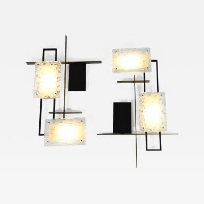 Maison Arlus Rare large pair of geometric wall lights