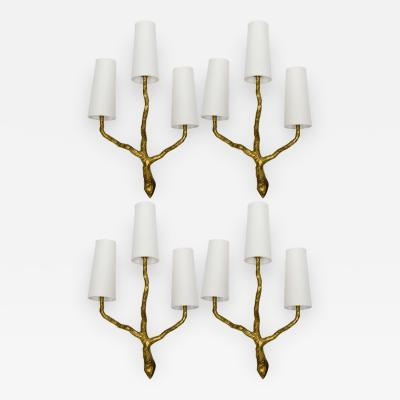 Maison Arlus Set of Four Hammered Bronze Wall Sconces by Maison Arlus