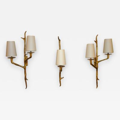 Maison Arlus Set of Three Bronze Wall Sconces by Arlus France 1950s