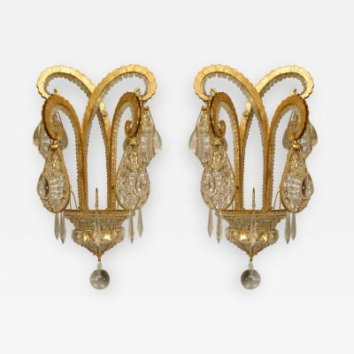 Maison Bagu s 5 French Art Deco Style Gilt Metal Beaded Glass Octopus Wall Sconces