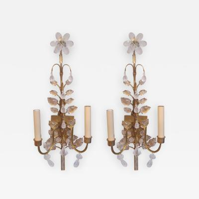 Maison Bagu s A Pair of Rock Crystal Gilt Sconces in the Bagues Manner