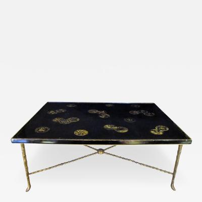 Maison Bagu s A Rare French Cocktail Table with Chinese Lacquered Top by Bagues