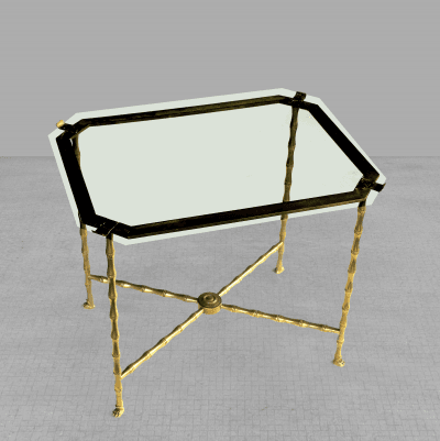 Maison Bagu s A stylish French 1940s faux bamboo brass side table by Maison Bagues Paris