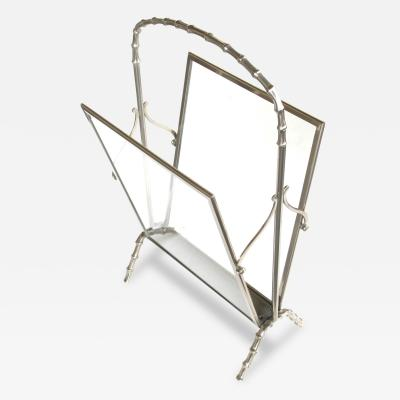 Maison Bagu s Chic French Maison Bagues Chrome and Glass Magazine Rack