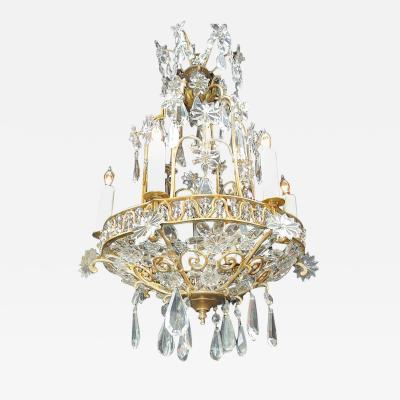 Maison Bagu s Early 20th C French Bronze Crystal Chandelier
