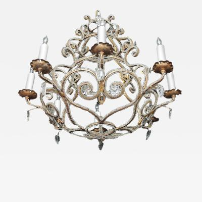 Maison Bagu s Early 20th C French Bronze and Crystal Chandelier