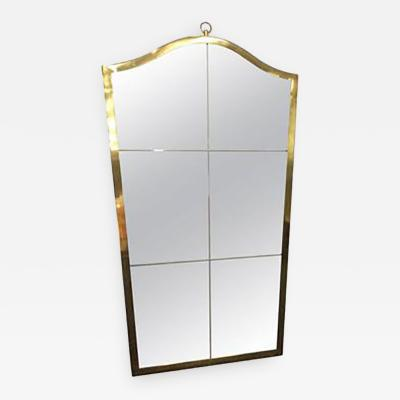 Maison Bagu s Exceptional Etched Wall Mirror with Brass Frame in the style of Maison Bagu s