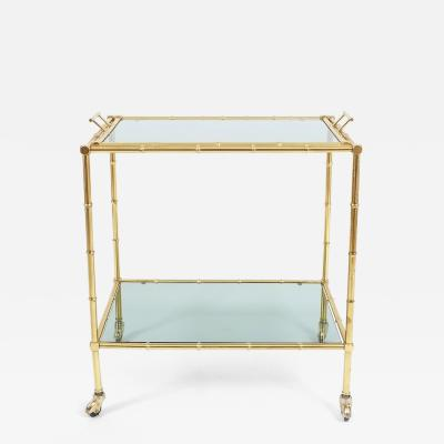 Maison Bagu s Faux Bamboo Brass Bar Cart With Removable Tray