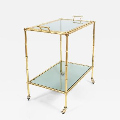 Maison Bagu s Faux Bamboo Brass Bar Cart with Removable Glass Tray 1965