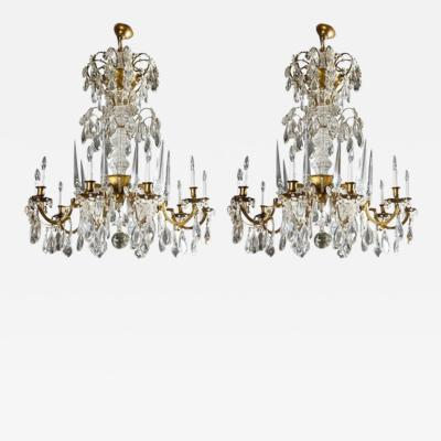 Maison Bagu s L 93 Important Pair of Crystal Chandeliers by Maison Bagu s
