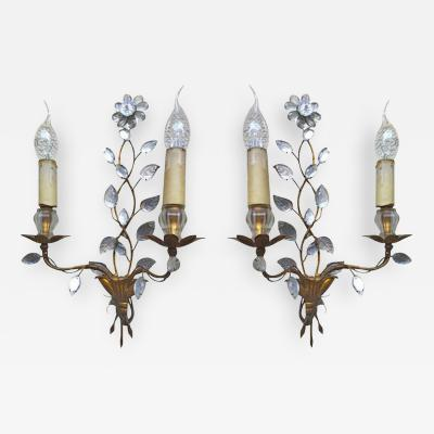 Maison Bagu s Maison Bagu s 1940s Genuine Extremely Refined Pair of Floral Gold Leaf Sconces