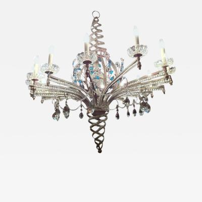 Maison Bagu s Maison Bagu s Big Spectacular Oval 16 Light Silver Leaf Chandelier