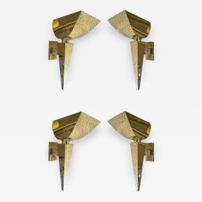 Maison Bagu s Maison Bagu s Rare Documented Set of Four Neoclassic Gold Bronze Torch Sconces