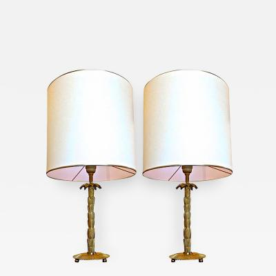 Maison Bagu s Maison Bagues Gold Bronze Pair of Palm Trunk Shaped Lamps