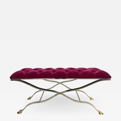 Maison Bagu s Maison Bagues Iron and Bronze Tufted Bench in Mohair Fabric