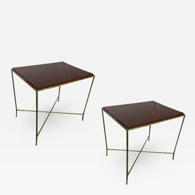 Maison Bagu s Maison Bagues Pair of Gold Bronze Refined Coffee Table with Red Lacquer Top