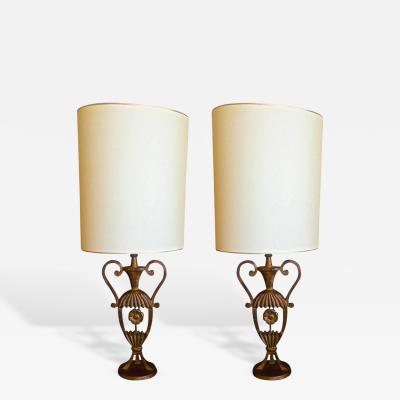 Maison Bagu s Maison Bagues Rare Pair of Gold Leaf Cast Iron Charming Little Pair of Lamps
