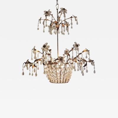 Maison Bagu s Mid 20th C French Iron and Crystal Chandelier